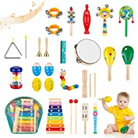 Obuby Toddler Musical Instruments Sets Wooden Percussion Instruments Toy for Kids Preschool Educational Wood Toys with…