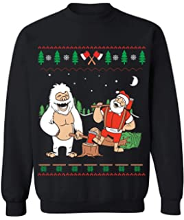 3ac90e1ea1c5 Funny Christmas Sweater - Abominable Snowman and Lumberjack Santa - Ugly  Christmas Sweatshirt for Men and