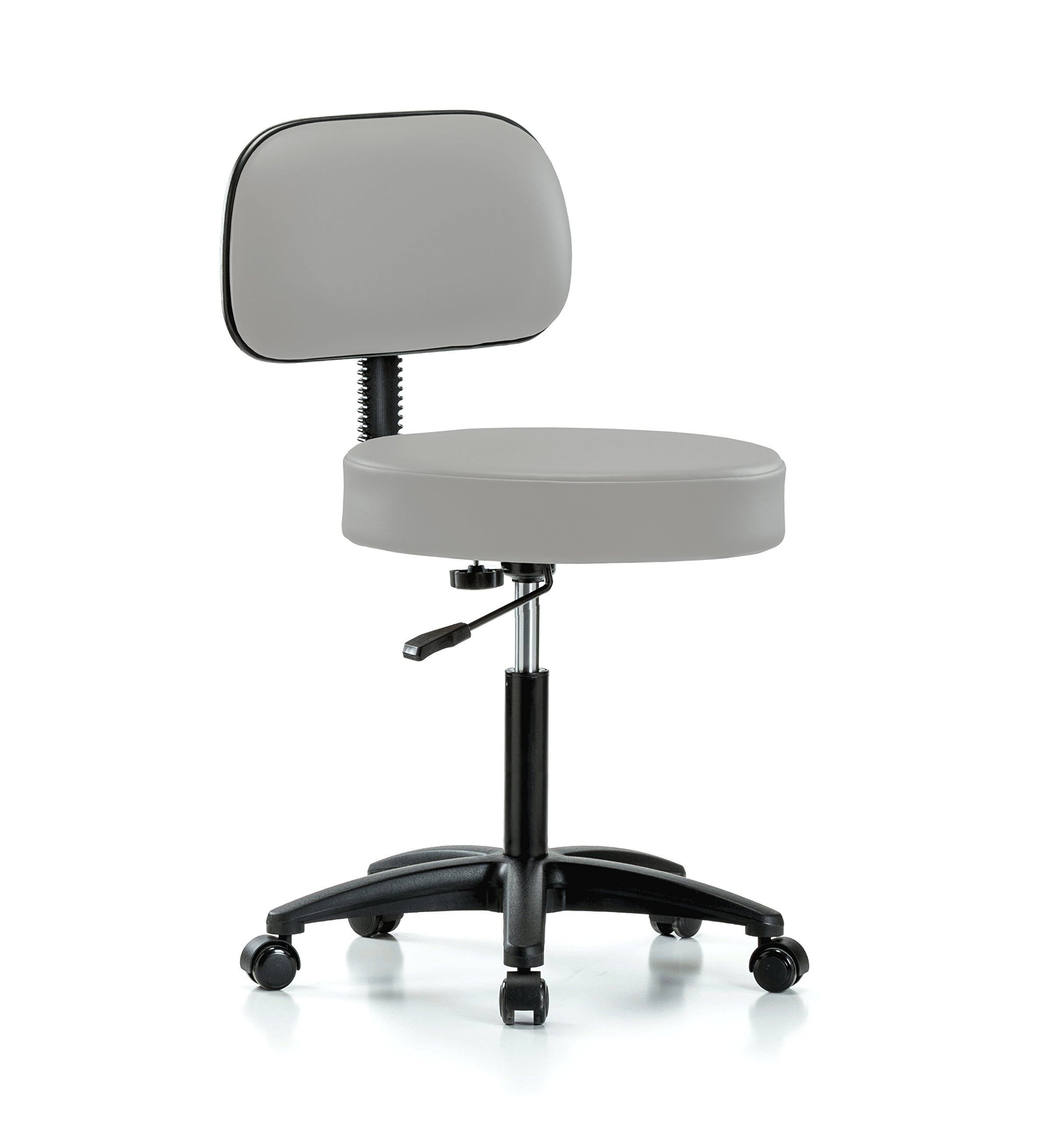 Perch Rolling Walter Exam Office Stool with Adjustable Backrest for Medical Dental Spa Salon Massage Lab or Workshop 21'' - 28.5'' (Hard Floor Casters/Grey Vinyl)