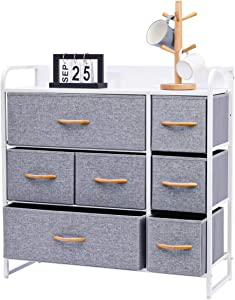 Kamiler 7-Drawer Dresser, 3-Tier Storage Organizer, Tower Unit for Bedroom, Hallway, Entryway, Closets - Sturdy Steel Frame, Wooden Top, Removable Fabric Bins