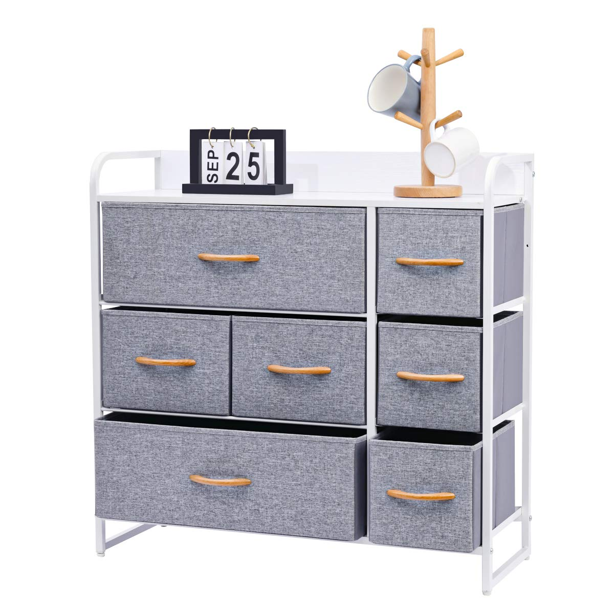 Kamiler 7-Drawer Dresser, 3-Tier Storage Organizer, Tower Unit for Bedroom, Hallway, Entryway, Closets - Sturdy Steel Frame, Wooden Top, Removable Fabric Bins by Kamiler