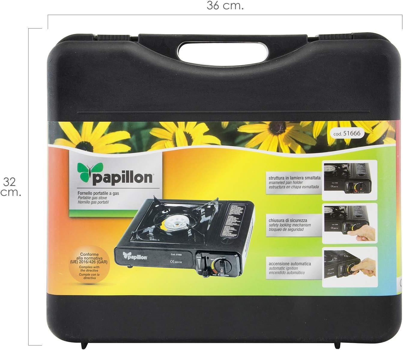 PAPILLON 8140120 Cocina Gas Cartucho con Maletin, Negro