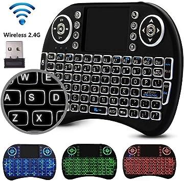 Mini teclado inalámbrico, 2.4G teclado recargable Touchpad Mouse Combo- Multimedia, teclado retroiluminado LED portátil de 3 colores para Smart TV Box, MAG IPTV, Buzz tv, dreamlink, PS3 / PS4 etc.: Amazon.es: Electrónica