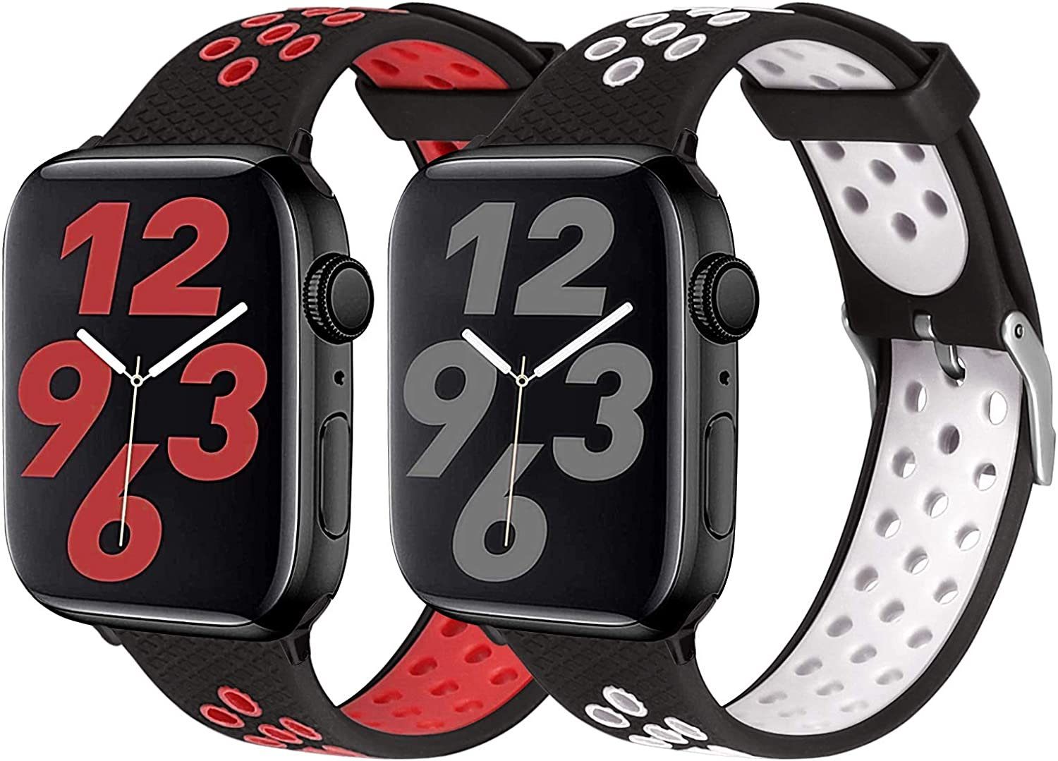 SKYLET Compatible with Apple Watch Bands 44mm 40mm Series 6/5/4/SE 42mm 38mm Series 3/2/1 Women Men, 2 Pack Soft Sport Silicone Breathable Wristbands Replacement iWatch Straps(Black-White/Black-Red)