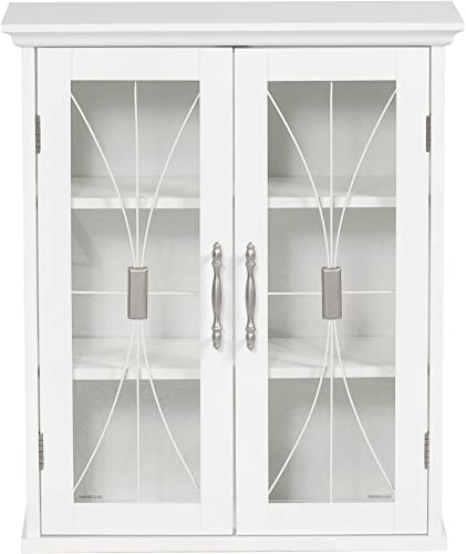 Elegant Home Fashions Delaney Wall Cabinet with 2 Doors, White