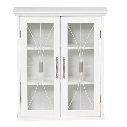 Superbe Elegant Home Fashions Delaney Wall Cabinet With 2 Doors, White