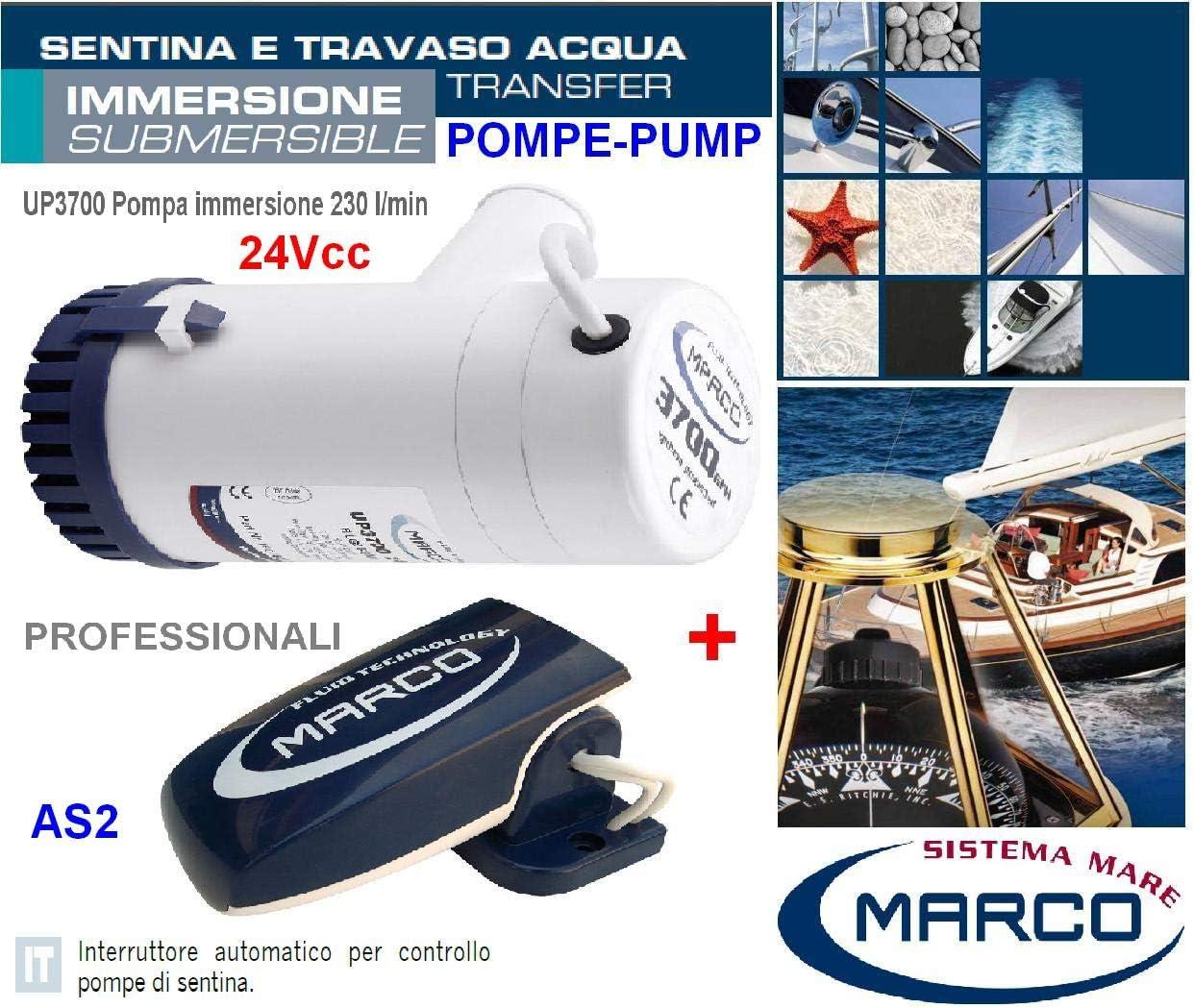 Bomba SENTINA de altísima potencia profesional de inmersión con interruptor flotante AS2 alimentación de 24 V CC alcance 230 litros por minuto Made in Italy 100% para barco pesqueros YACHT UP3700