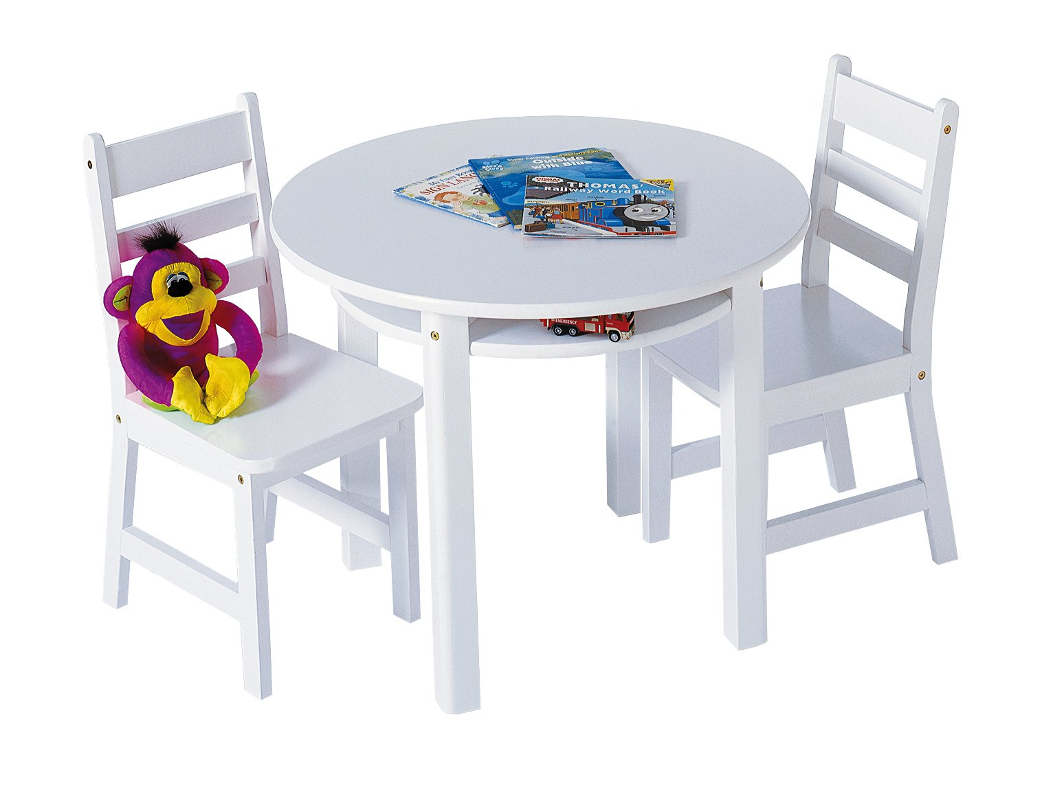 Lipper International Child's Round Table with Shelf and 2 Chairs, White by Lipper International