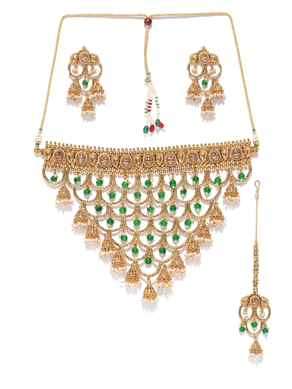 Vishal-Vatika Indian Bollywood Choker Style Gold Plated Polki Necklace Set