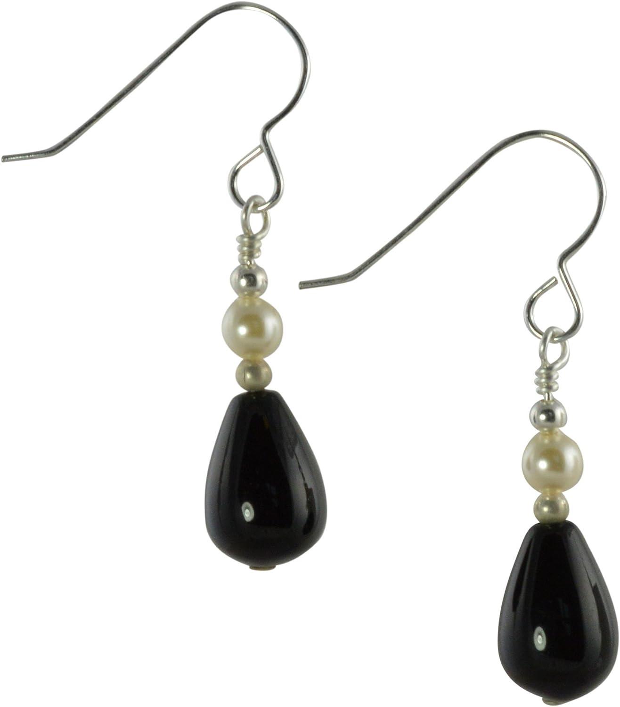 Pendientes de lágrima de ónix negro, perla de cristal de Swarovski color crema y plata de ley con caja de regalo