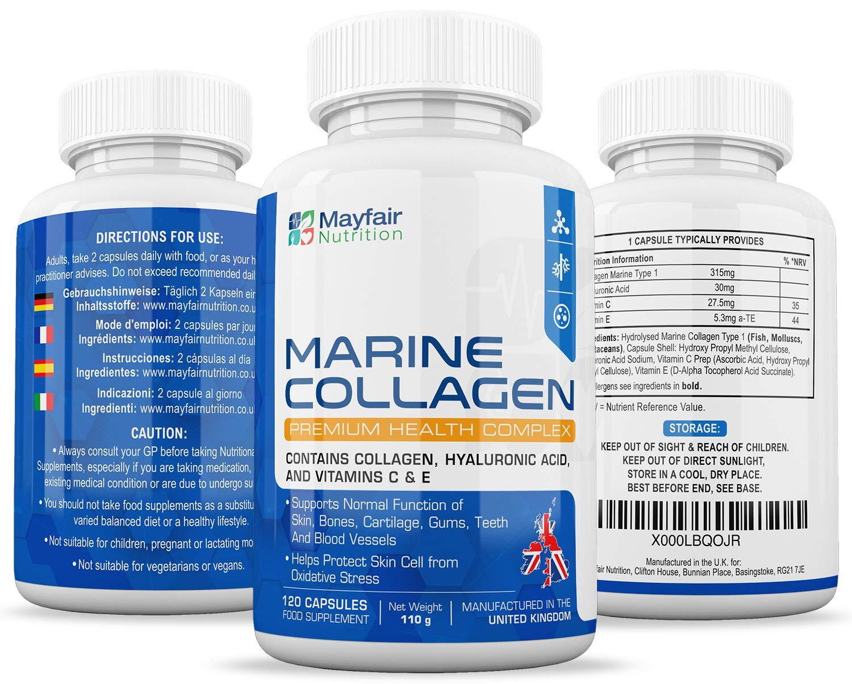 Complejo de colágeno marino 630mg   120 grageas   Contiene colágeno, ácido hialurónico, vitaminas C y E: Amazon.es: Salud y cuidado personal