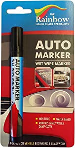 Car Paint Marker Pens Auto Writer Black - All Surfaces, Windows, Glass, Tire, Metal - Any Automobile, Truck or Bicycle, Water Based Wet Erase Removable Markers Pen