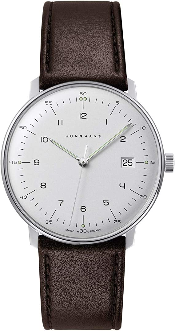 Junghans Men's Max Bill Stainless Steel Quartz Watch with Leather Calfskin Strap