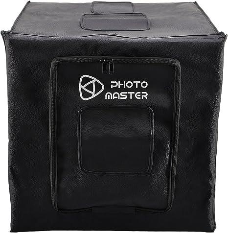 Photo Master Caja de Luz Fotografía Estudio 40 x 40 x 40cm (16)  Mini Softbox Kit Portátil de Grabación de Vídeo Cámara, 2 x LED Luz Ajustable + 3 Fondos: Amazon.es: Electrónica