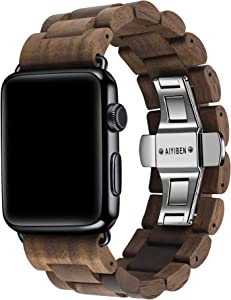 AIYIBEN Watch Band 38mm/40mm iWatch Band Bracelet Strap Stainless Steel Clap with Adjustable Links Compatible for iWatch Series 4/3/2/1 Sport Edition (Walnut Wood-38mm/40mm)