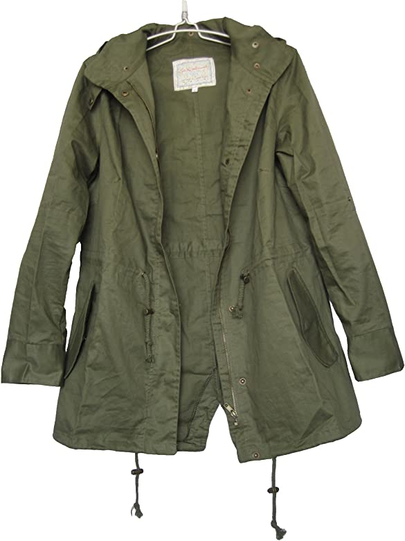 be4e4370 Women's Hooded Drawstring Military Jacket Parka Coat Army Green (XL)