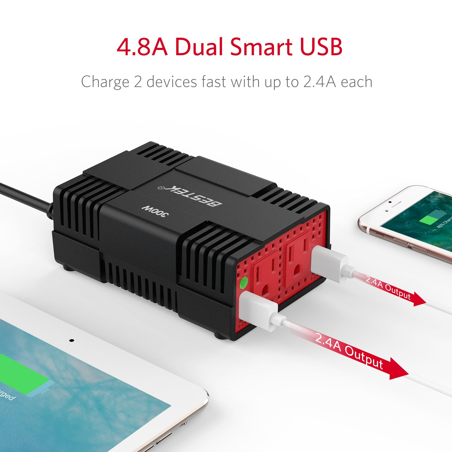 Bestek 300w Power Inverter Dc 12v To 110v Ac Car Altima Xbox 360 Supply Cpu Motherboard With 48a Dual Usb Charging Port Electronics