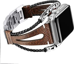 Secbolt Leather Bands Compatible Apple Watch Band Series 4 & 5 40mm, Series 3/2/1 38mm, Double Twist Handmade Vintage Natural Leather Bracelet Replacement Bracelet Straps Women