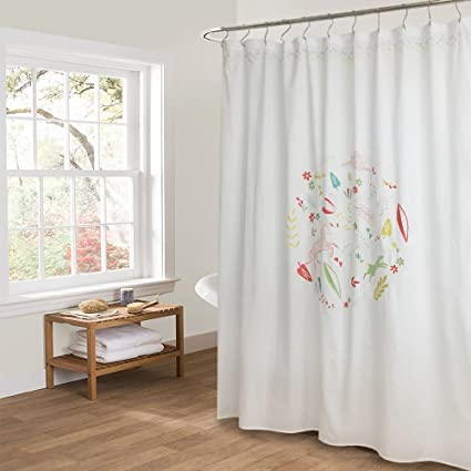 Amazon.com: Merryfeel Embroidered Shower Curtain 180 x 190 cm (70 ...