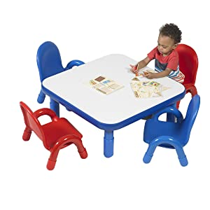 """Angeles Baseline 30"""" Sq. Kids Table and Chairs Set, Homeschool/Playroom Toddler Furniture, Activity Table for Daycare/Classroom Learning, Blue (AB74112PB5)"""