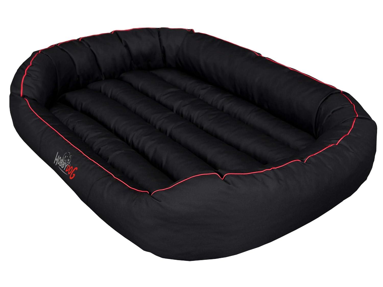 Black XXL Black XXL HOBBYDOG Oval Dog Bed, 2X-Large, Black Red Piping