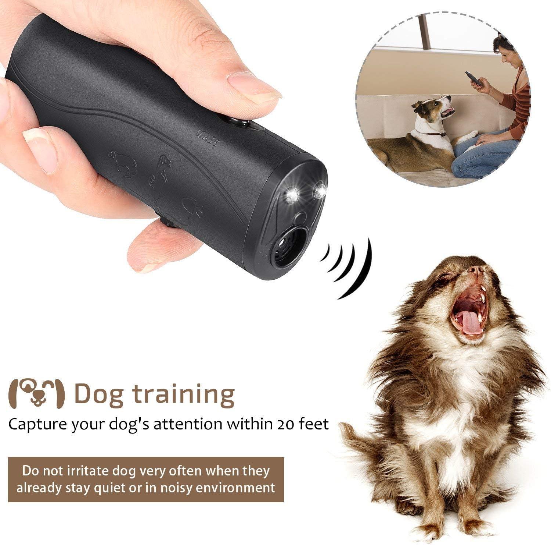 MakBea Anti Barking Stop Bark Handheld 3 in 1 Pet LED Ultrasonic Dog Repeller and Trainer Device - Training Tool/Stop Barking [Black]