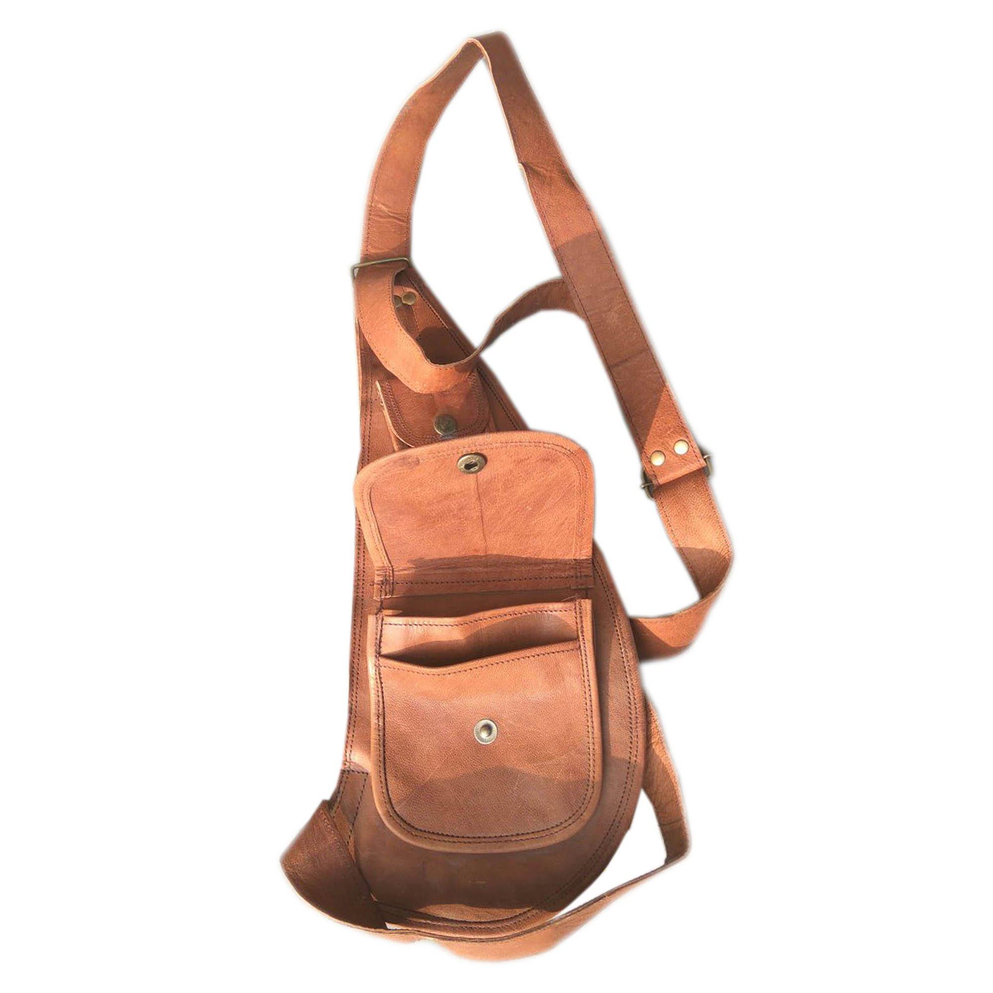 Handcraft Genuine Leather Vintage Brown Utility Chest Bag | Shoulder Bag | Unbalance Bag | Gym Backpack