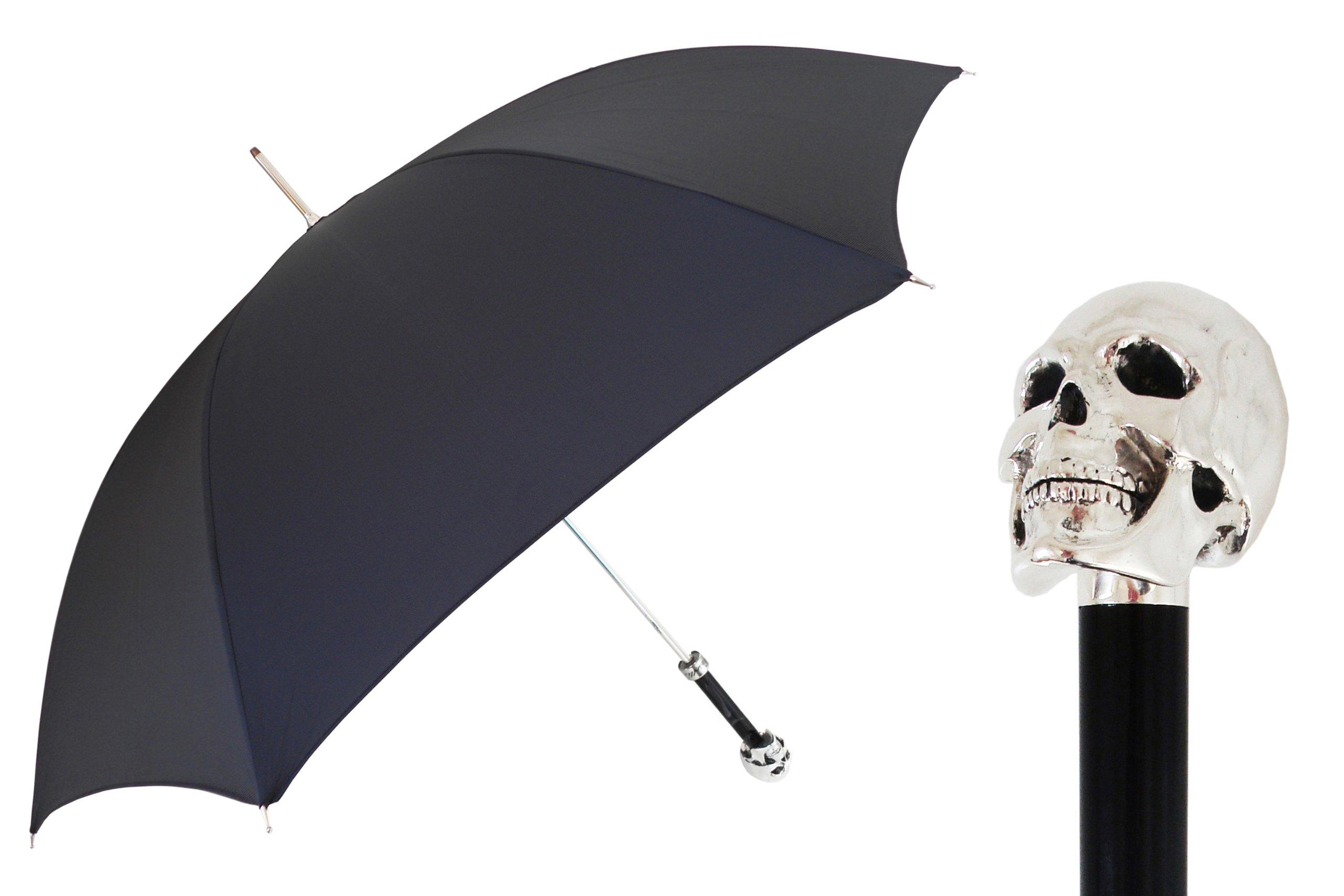 Pasotti Ombrelli Lux Silver Skull Black Luxury Walking Stick Umbrella W33