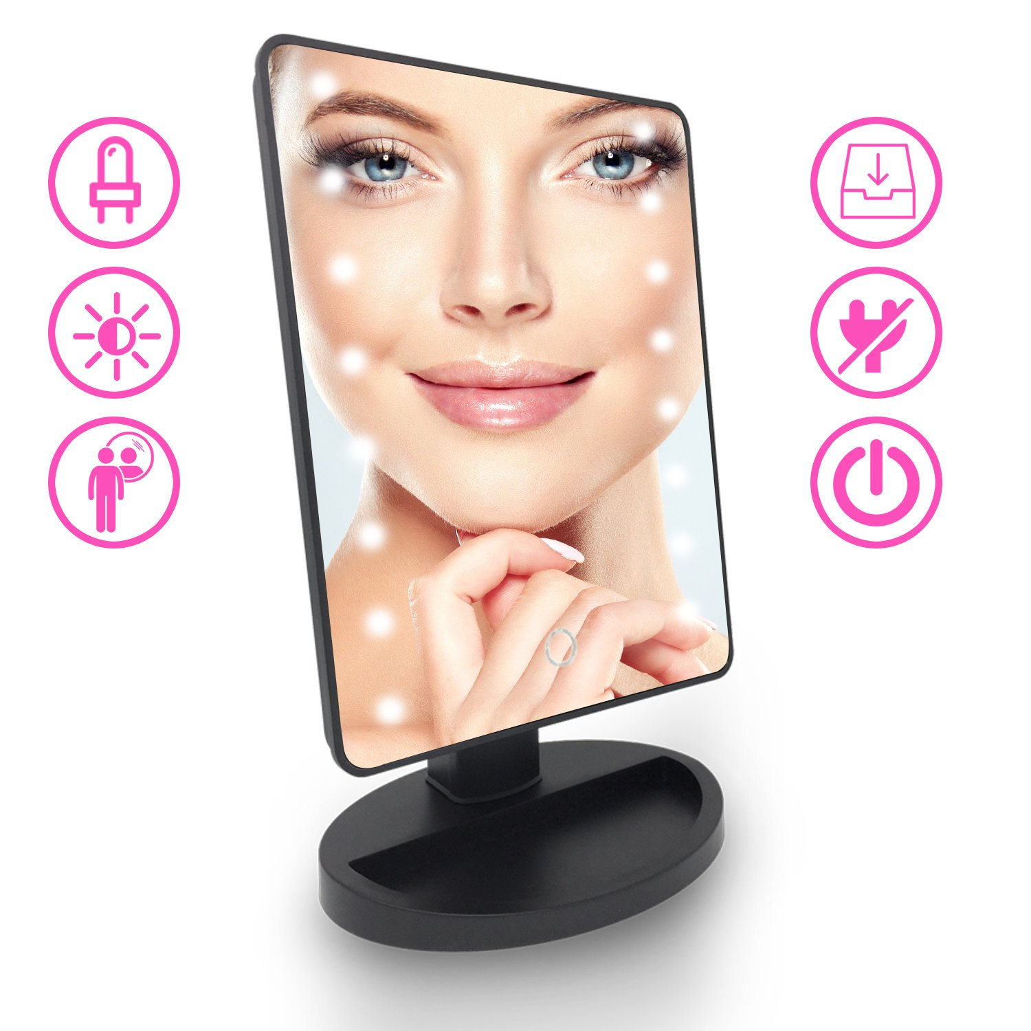 Lighted Makeup Vanity Mirror with Lights – Led Light Up Travel Make Up Mirror as Hollywood Style Bathroom Cosmetic Vanity Mirrors – Perfect Gift Idea for Every Woman, Girls