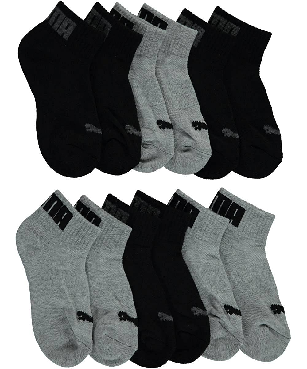 Puma Boys' Ribbed & Textured Logo 6-Pack Quarter Crew Socks 9 - 11 / 7 - 14 years P106445-041