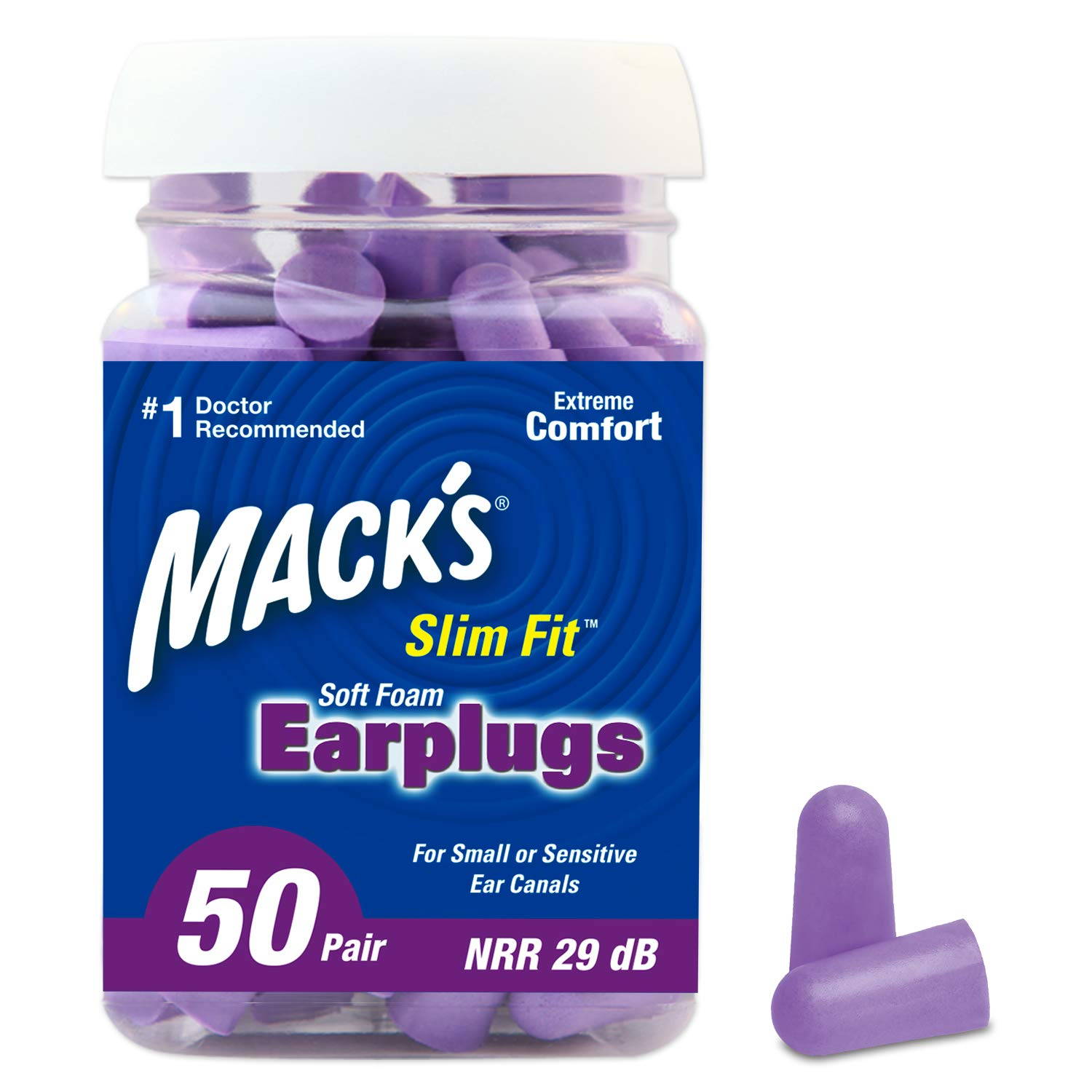 Mack's Slim Fit Soft Foam Earplugs, 50 Pair - Small Ear Plugs for Sleeping, Snoring, Traveling, Concerts, Shooting Sports & Power Tools by Mack's