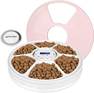Luckit Automatic Pet Feeder for Cats Dogs, 6-Meals Pet Food Dispenser Dry and Wet Food, Smart Pet Feeder with Voice Reminder, Programmable Timer, Portion Control, for Small and Medium Pets