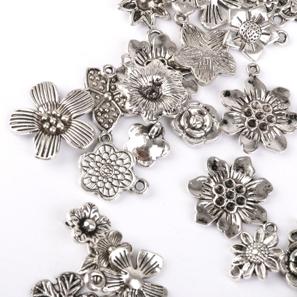 MonkeyJack 50pcs Tibetan Silver Flowers Charms Pendant Beads Jewellery Making