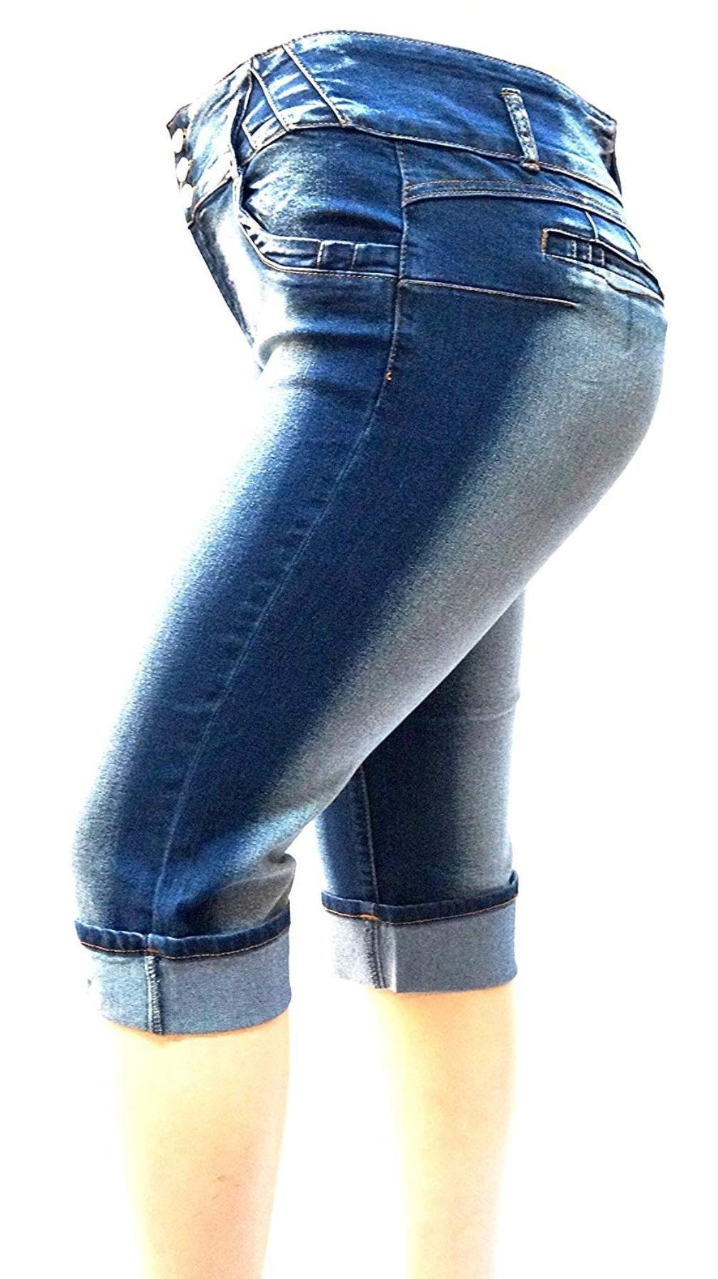 D&B Women's Plus Size Blue Denim Jeans Capri Pants Stretch HI Waist (16, DB Blue Capri 39480)