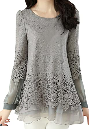 CANDOIT Womens Chiffon Lace Patchwork Casual Slim Shirts (Medium, Gray)