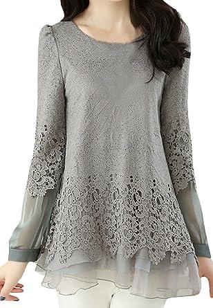 CANDOIT Womens Chiffon Lace Patchwork Casual Slim Shirts (Medium, Gray)