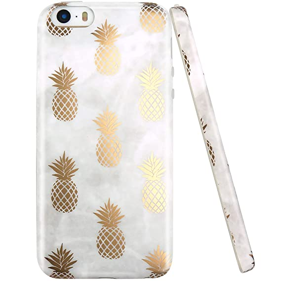 various colors e4808 126c3 JAHOLAN iPhone 5 Case, iPhone 5S case, Shiny Gold Pineapple Gray Marble  Design Clear Bumper TPU Soft Rubber Silicone Cover Phone Case Compatible  with ...