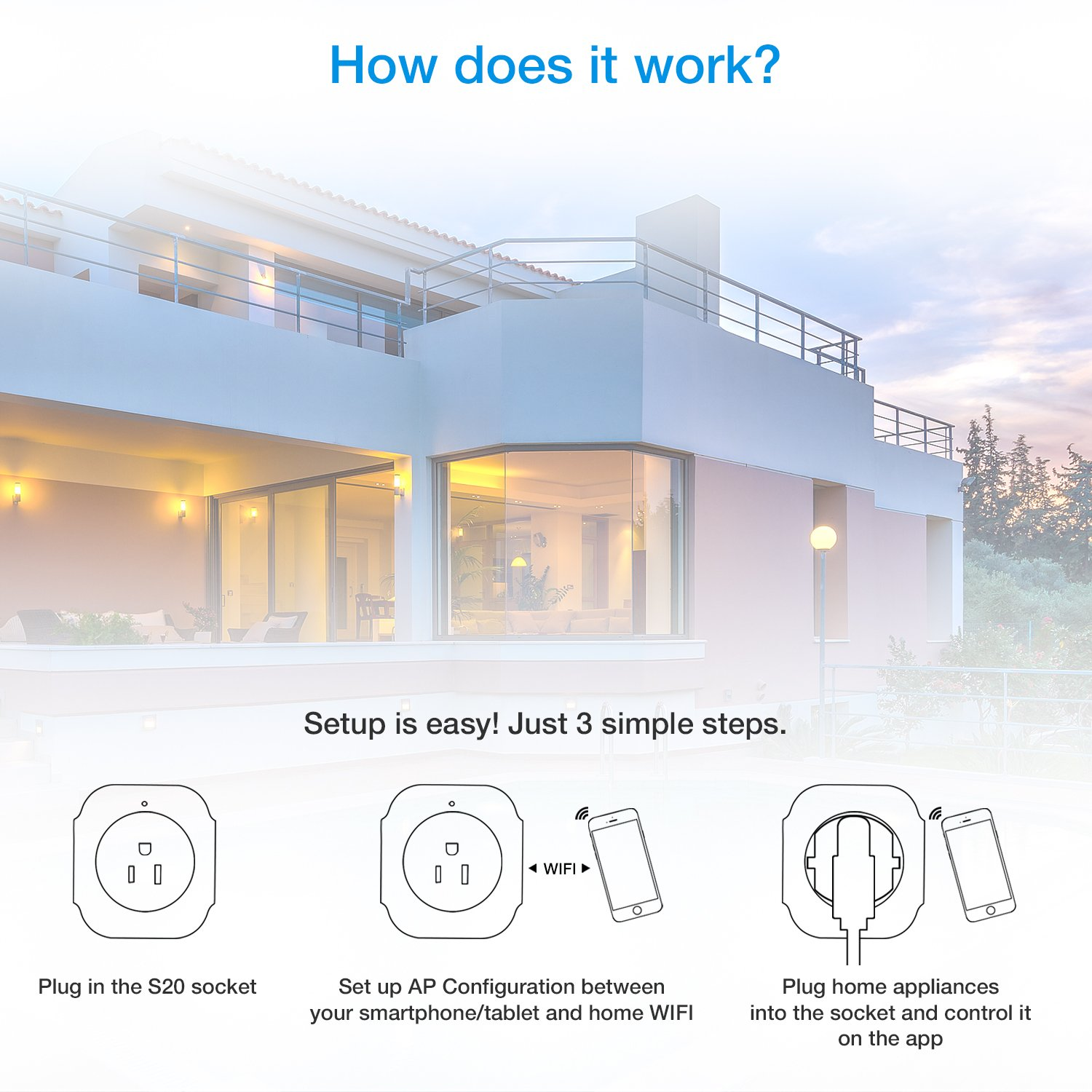 Smart Plug WiFi, Mini Wireless Smart Outlet Socket Compatible with Alexa,Extra USB Port- Charging Any USB Device Simultaneously,No Hub Required,Timing Function, Remote Control Your Devices Anywhere