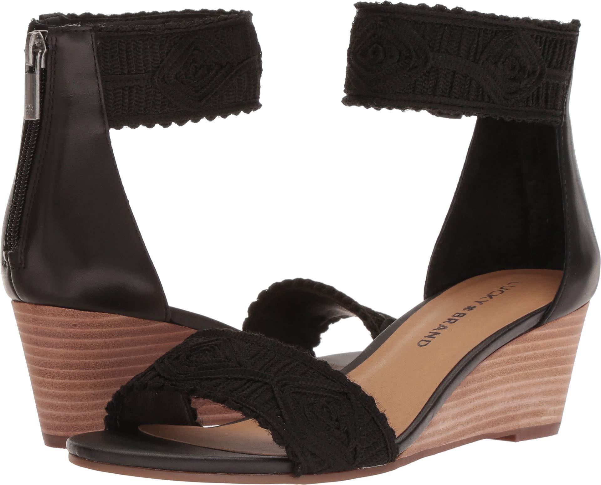 Lucky Brand Women's Joshelle Wedge Sandal, Black, 8 M US