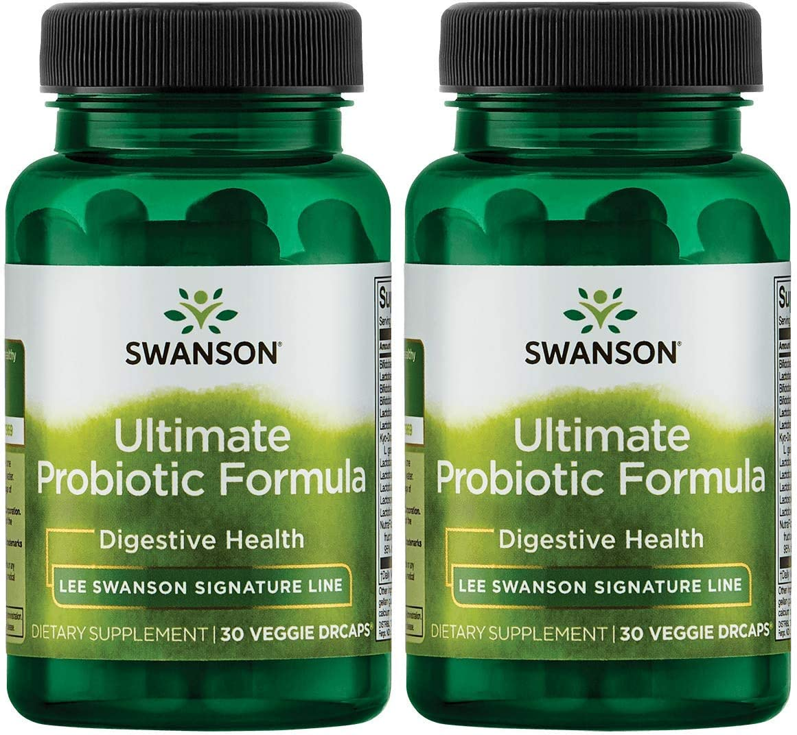 Swanson Ultimate Probiotic Formula Digestive Health Immune System Support 66 Billion CFU Prebiotic NutraFlora scFOS 30 DRcaps Veggie Capsules (Caps) (2 Pack)