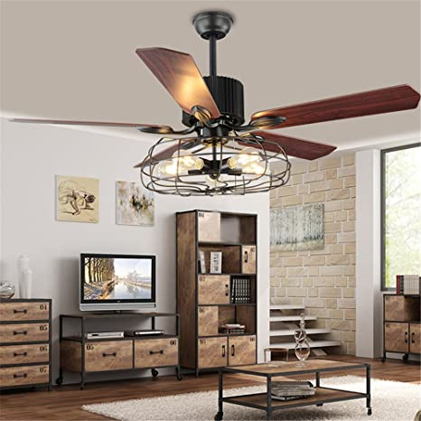 Great BAYCHEER HL449148 Industrial Wrought Iron Style Fan Semi Flush Ceiling  Light Hanging Lamp With Fans And