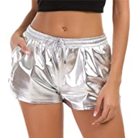 Taydey Women's Yoga Hot Shorts Shiny Metallic Pants with Elastic Drawstring