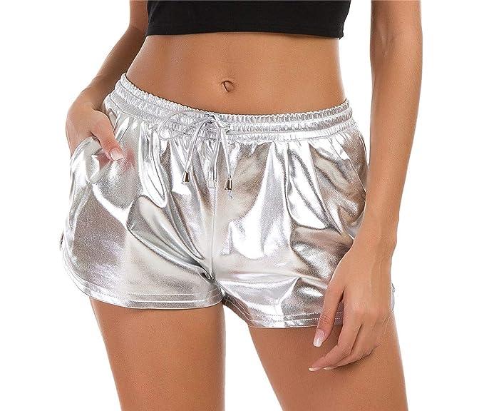 b9ce9ddb38 Amazon.com: Taydey Women's Yoga Hot Shorts Shiny Metallic Pants with ...