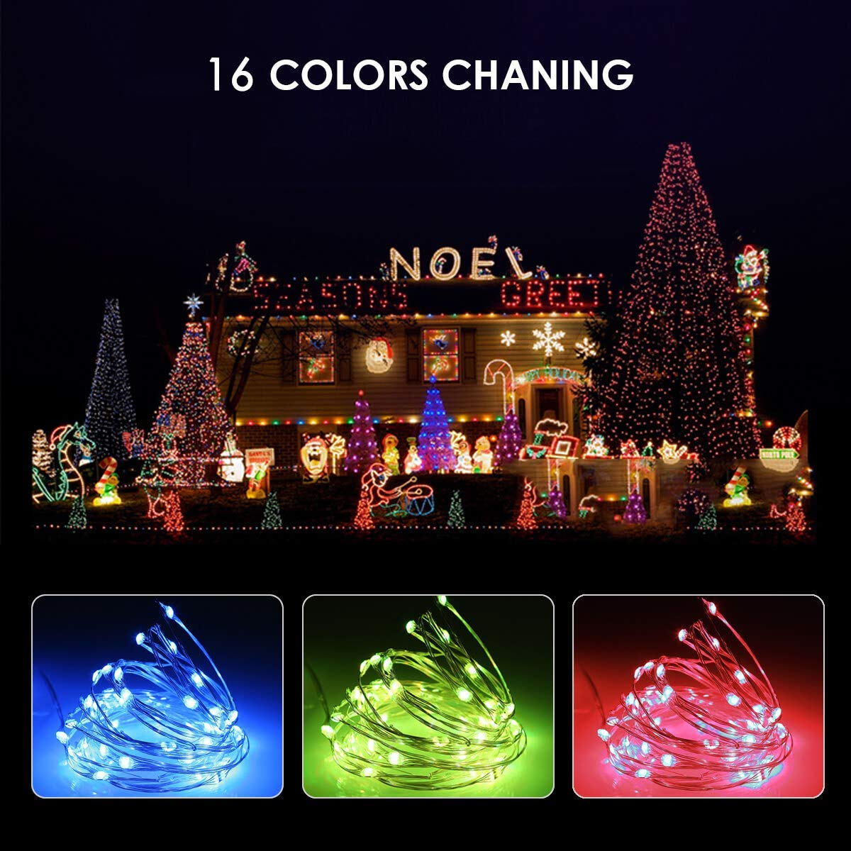ALOVECO Fairy String Lights Battery Operated, 16ft 50 LED Multi Color Changing Twinkle String Lights with Remote,16 Colors Waterproof Outdoor & Indoor Decorative Lights for Bedroom Christmas Wedding