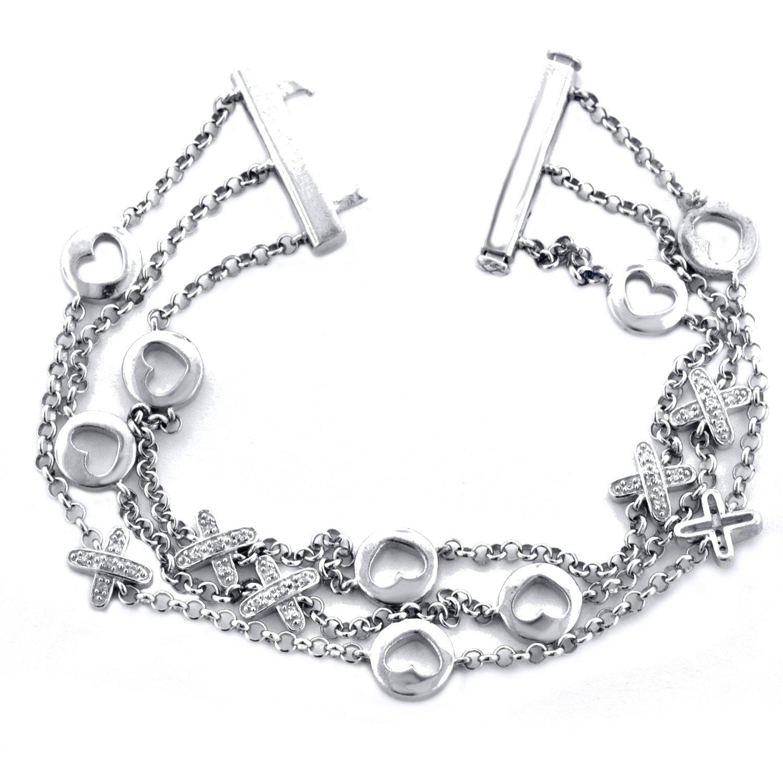 Sterling Silver 1/7cttw Heart & Cross Shaped Charm Bracelet