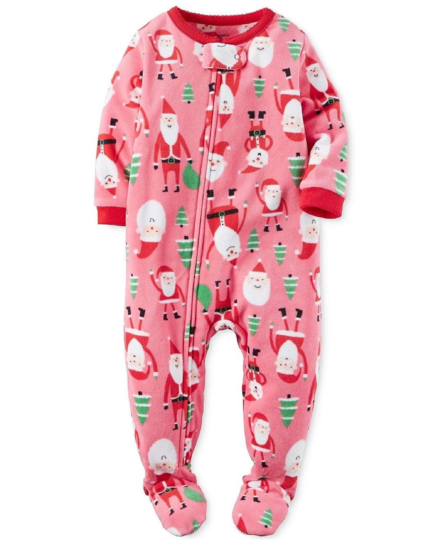 082c725c6 Amazon.com  Carter s Baby Girls  1-Piece Fleece PJs Santa  Christmas ...