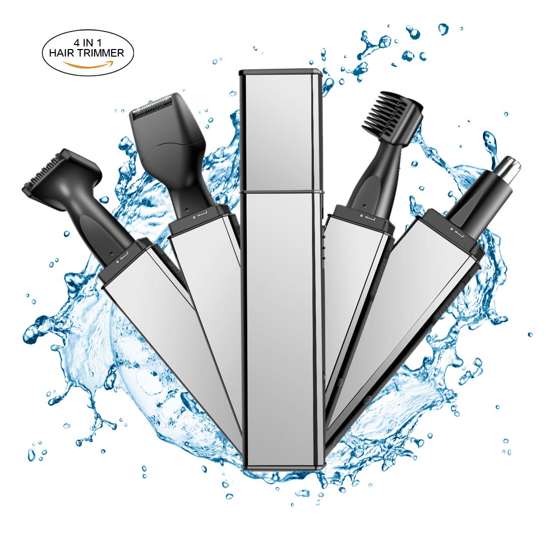 Nose Hair Trimmer, WONTECHMI 4 in 1 Stainless Steel Hair Trimmer, Wet/Dry Beard Trimmer, Ear Hair Trimmer, Sideburn Electric Shaver, Eyebrow Trimmer, Rechargeable,Water Resistant, Father's day Gift Father' s day Gift