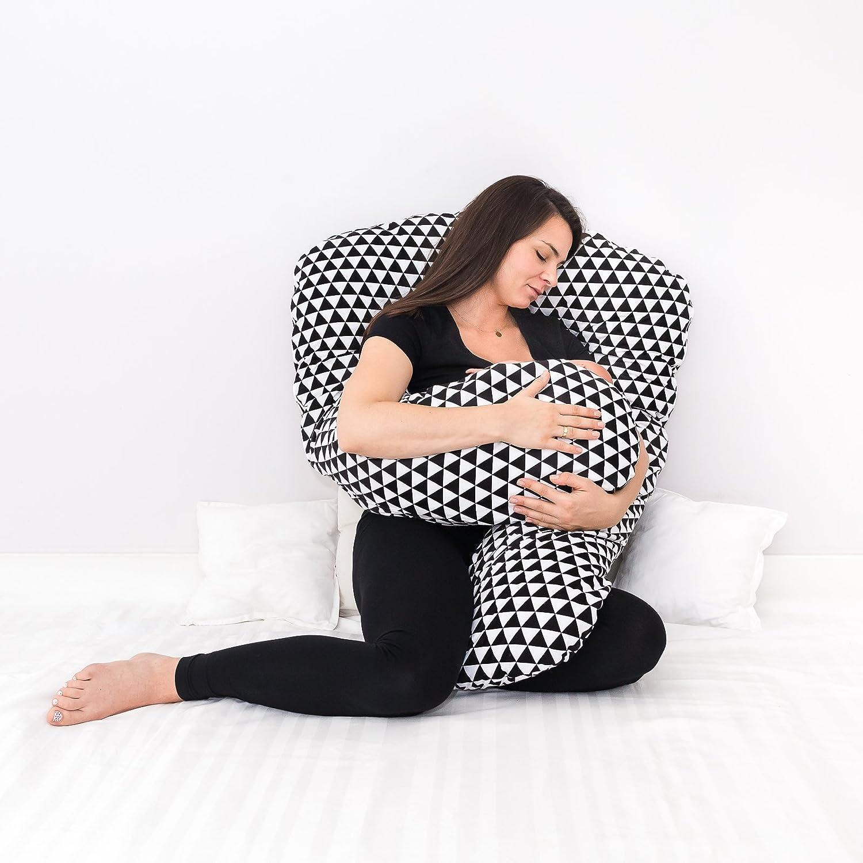 LOOLAY/® XXXL Stillkissen Typ A Typ U 330 cm Lagerungskissen Schwangerschaftskissen Relaxkissen ink.Bezug MUSTER Dreiecke schwarz