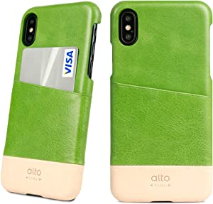 Alto Metro Phone Case for iPhone Xs Max (6.5 inch), Premium Italian Leather Wallet Case with Card Holder Design (Lime/Original)