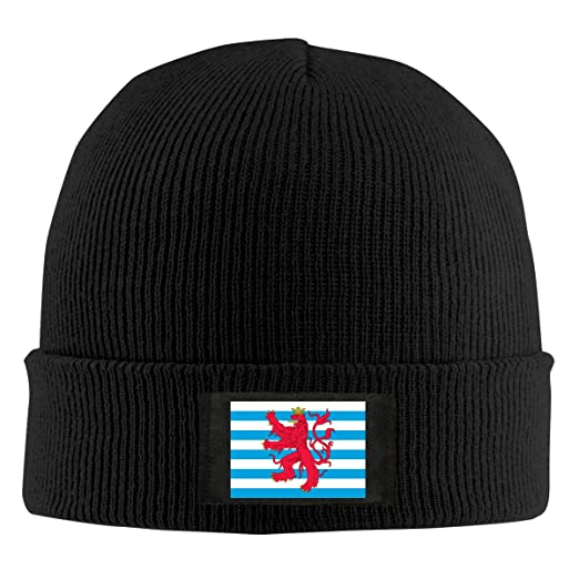 Mens Womens Beanie Cap Watch Hat Winter Warm Knit Skull Hat Cap with Civil  Ensign of Luxembourg Printed Black at Amazon Men s Clothing store  4b8b61669